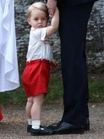 Prince George arrives at the Church of St Mary Magdalene on the Sandringham Estate, England for the Christening of Princess Charlotte of Cambridge, Sunday, July 5, 2015. Picture: AP