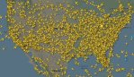 Map shows thousands of flights over the US. Picture: Flightradar24