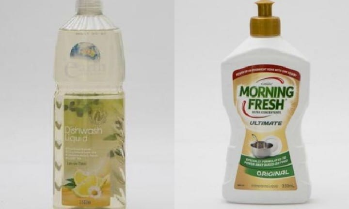 Earth Choice and Morning Fresh dishwashing liquids