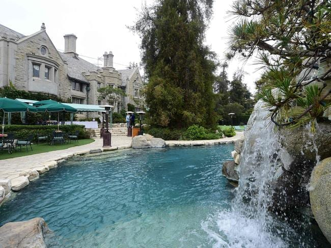 The swimming pool at the Playboy mansion on in Holmby Hills, Los Angeles, California. Picture: AFP
