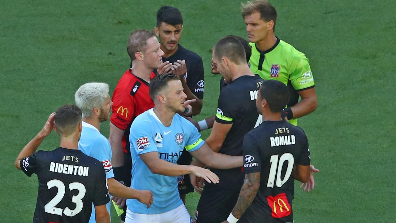 Ronny Vargas was sent off after conceding a penalty against Melbourne City.