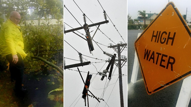 Emergency workers clear fallen branches in Ocean City, Maryland; damaged power lines in Nag's Head, North Carolina; and flooding in Ocean City, Maryland. Pictures: AP/AFP