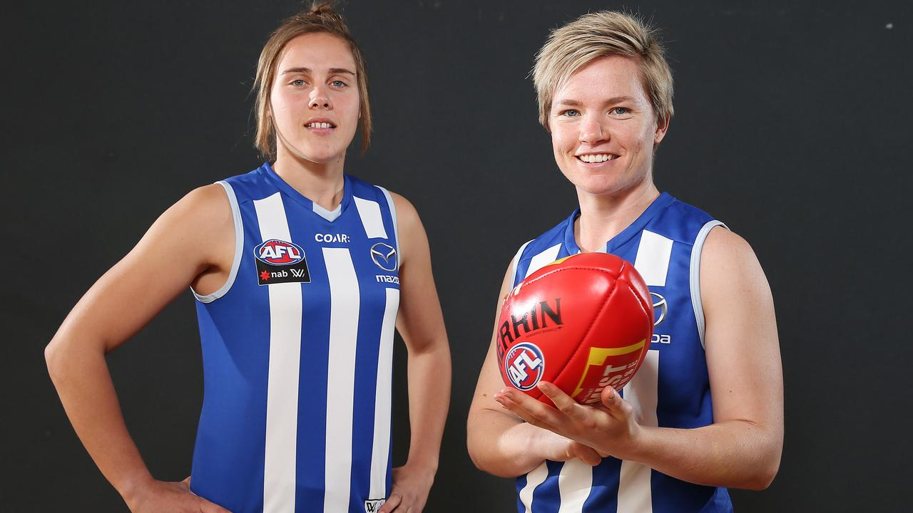 North Melbourne's AFLW recruits Jess Duffin (right) and Jasmine Garner. Pic: Michael Klein