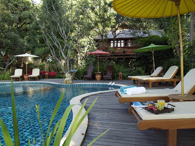 The pool area at The Cabin in Chiang Mai.