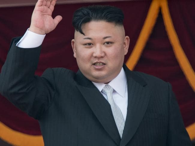 This file photo taken on April 15, 2017 shows North Korean leader Kim Jong-un waving from a balcony of the Grand People's Study house following a military parade. Picture: AP.
