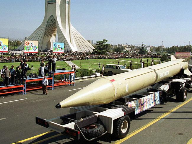 Iran's Shahab-3 surface-to-surface missile is seen displayed in Tehran during a military parade. Picture: Supplied