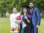 Deepa Shrestha, Jamila Miya and Ajijdin Miya at the UTAS Graduation at Launceston. PICTURE CHRIS KIDD