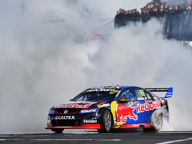 Shane Van Gisbergen delivers a victory burnout in Pukekohe.