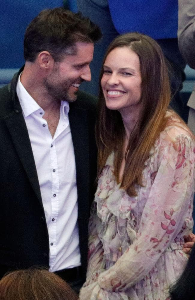 Hilary Swank and Philip Schneider at the 2017 US Open Women's Finals in New York. Picture: Jackson Lee/WireImage