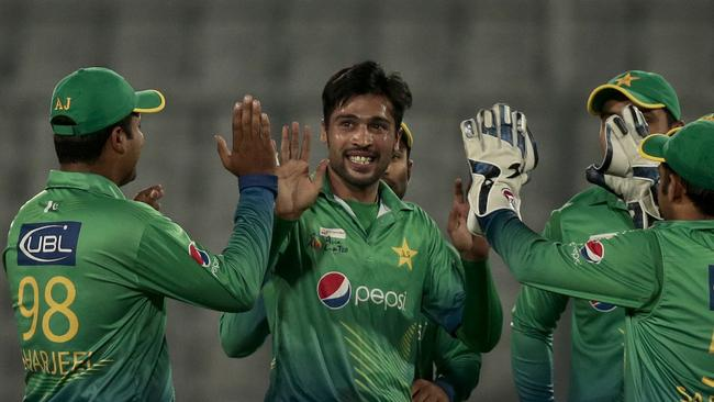 Pakistan's Mohammad Amir took 2-6 against the United Arab Emirates.