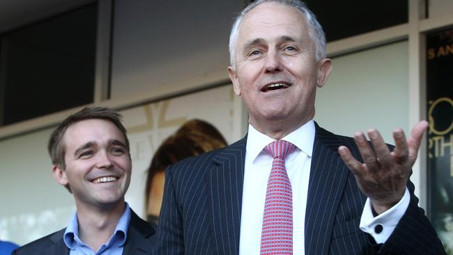 Wyatt Roy with now-Prime Minister Malcolm Turnbull in 2013. Pic Jono Searle.