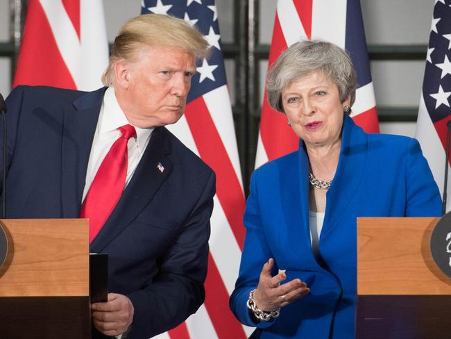 President Trump and Prime Minister Theresa May attend a joint press conference at the Foreign and Commonwealth Office during the second day of his State Visit on June 4 in London. Picture: Stefan Rousseau/Getty Images
