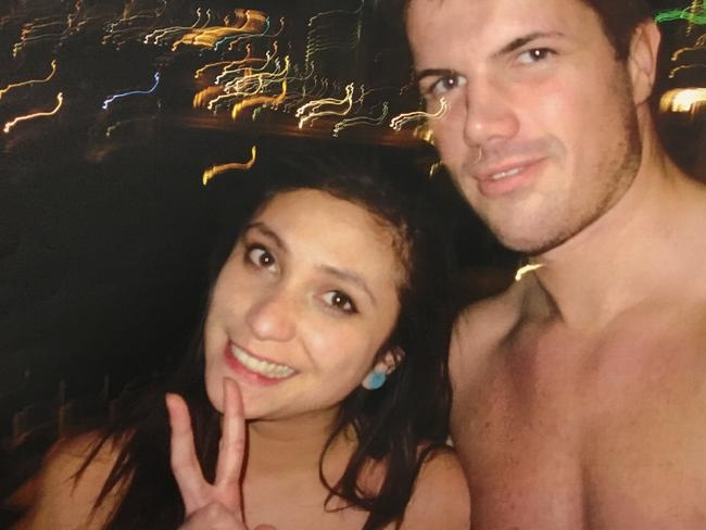 Gable Tostee and Warriena Wright inside his 14th floor Surfers Paradise apartment just hours before the New Zealand tourist plummeted to her death from the balcony. Picture: AAP Image/Supplied by Queensland Supreme Court