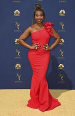 Tanika Ray arrives at the 70th Primetime Emmy Awards on Monday, Sept. 17, 2018, at the Microsoft Theater in Los Angeles. (Photo by Jordan Strauss/Invision/AP)