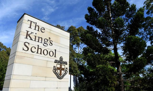 A general view of signage at The King's School at North Parramatta, in Sydney, Tuesday, Oct. 25, 2016. (AAP Image/Dan Himbrechts) NO ARCHIVING