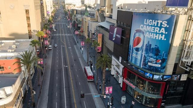 The normally jammed Hollywood Blvd is now empty during morning rush hour. Picture: Robyn Beck/AFP