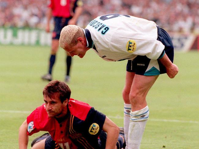 England's Paul Gascoigne shouts at Spain's Alfonso Perez following a tackle during a Euro '96 quarterfinal at Wembley, London.