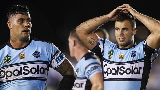 Sharks forwards Andrew Fifita and Wade Graham played in the World Cup. Picture: Phil Hillyard