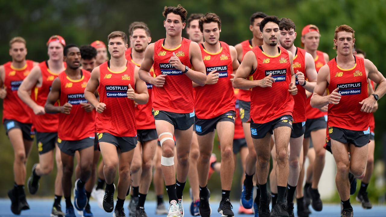 Wil Powell and the Gold Coast Suns took part in a 2km time trial. Picture: Matt Roberts