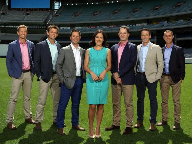 McLaughlin and the rest of Ten's Big Bash commentary team: Mark Howard, Adam Gilchrist, Ricky Ponting, Mark Waugh, Damien Fleming and Andy Maher.