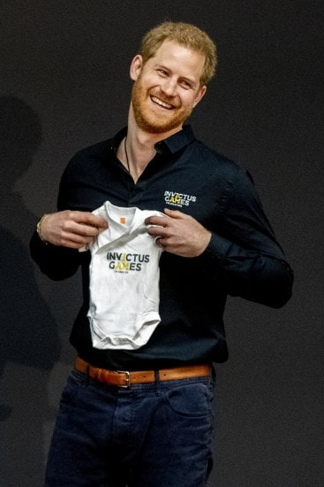 THE HAGUE, NETHERLANDS - MAY 09: Prince Harry, Duke of Sussex is presented with an Invictus Games baby grow for his newborn son Archie by Princess Margriet of The Netherlands during the launch of the Invictus Games on May 9, 2019 in The Hague, Netherlands. (Photo by Patrick van Katwijk/Getty Images)