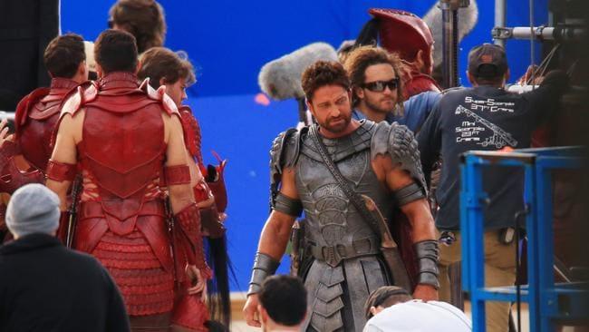 Gerrard Butler filming Gods Of Egypt in Sydney's Centennial Park. Picture: Adam Taylor
