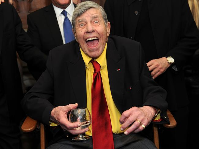 Jerry Lewis talking to the media at his 90th birthday in New York last year. Picture: Brad Barket