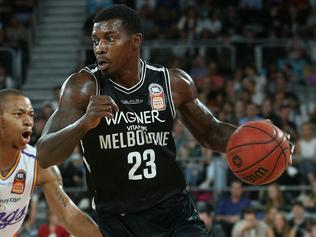Casey Prather of Melbourne (right) dribbles past Jerome Randle of Sydney during the Round 9 NBL game between Melbourne United and the Sydney Kings at Hisense Arena, Melbourne, Monday, December 11, 2017. (AAP Image/Hamish Blair) NO ARCHIVING, EDITORIAL USE ONLY