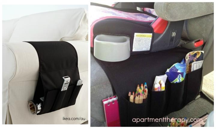 "9. USE AN IKEA FLORT TV REMOTE CADDY AS A CAR CADDY  <p>Keep stuff handy by repurposing an old IKEA favourite in the back of the car. <a href=""http://www.apartmenttherapy.com/ikea-flort-as-car-seat-organizerthe-odd-mom-out-167669"">Repurposed image via apartmenttherapy.com</a></p>"