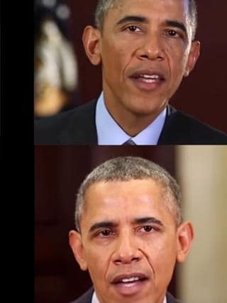An image from the video produced by the research project Synthesizing Obama. Which is the real Barack Obama? They're all fake