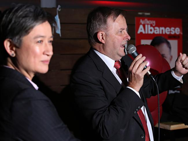 Anthony Albanese launches his 2016 campaign with Penny Wong at Vic on the Park in Marrickville. Picture: Adam Yip