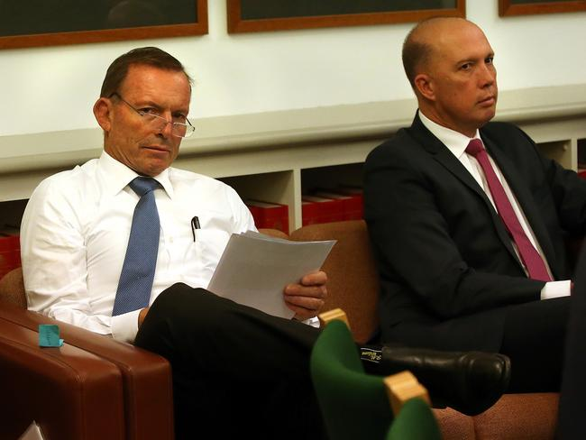 Tony Abbott is likely to have egged on the turmoil in recent days that led Peter Dutton to stand for the Liberal Party leadership. Picture Kym Smith
