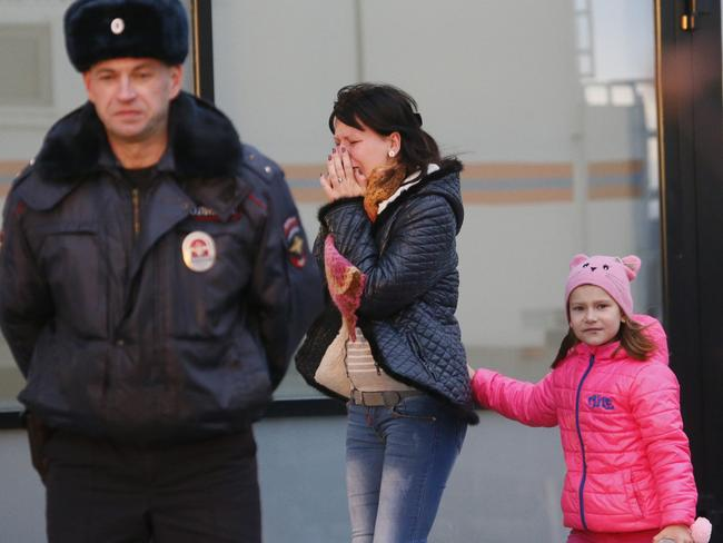 All gone ... A relative of those on the Metrojet flight that crashed in Egypt react as they gather to grieve at a hotel near St. Petersburg's Pulkovo airport outside St. Petersburg, Russia. Picture: AP