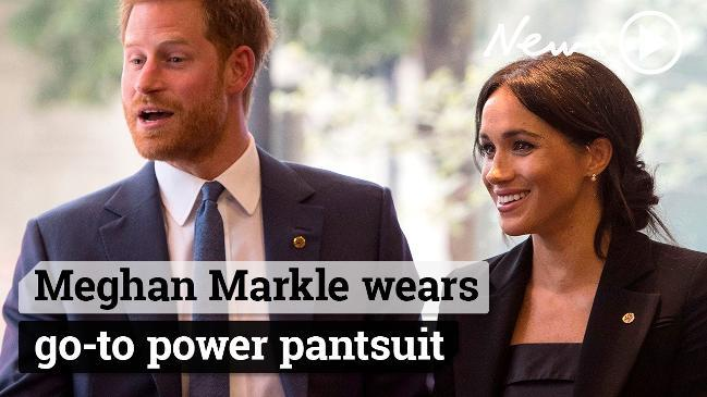 Meghan Markle wears power pantsuit after daring tuxedo dress