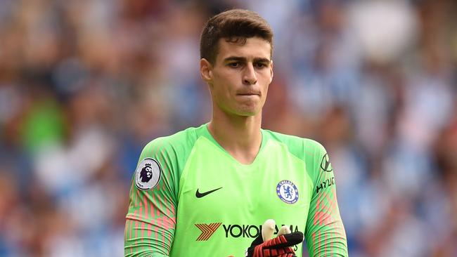 Chelsea's record-breaking goalkeeper Kepa Arrizabalaga looks on during his debut for the Blues.