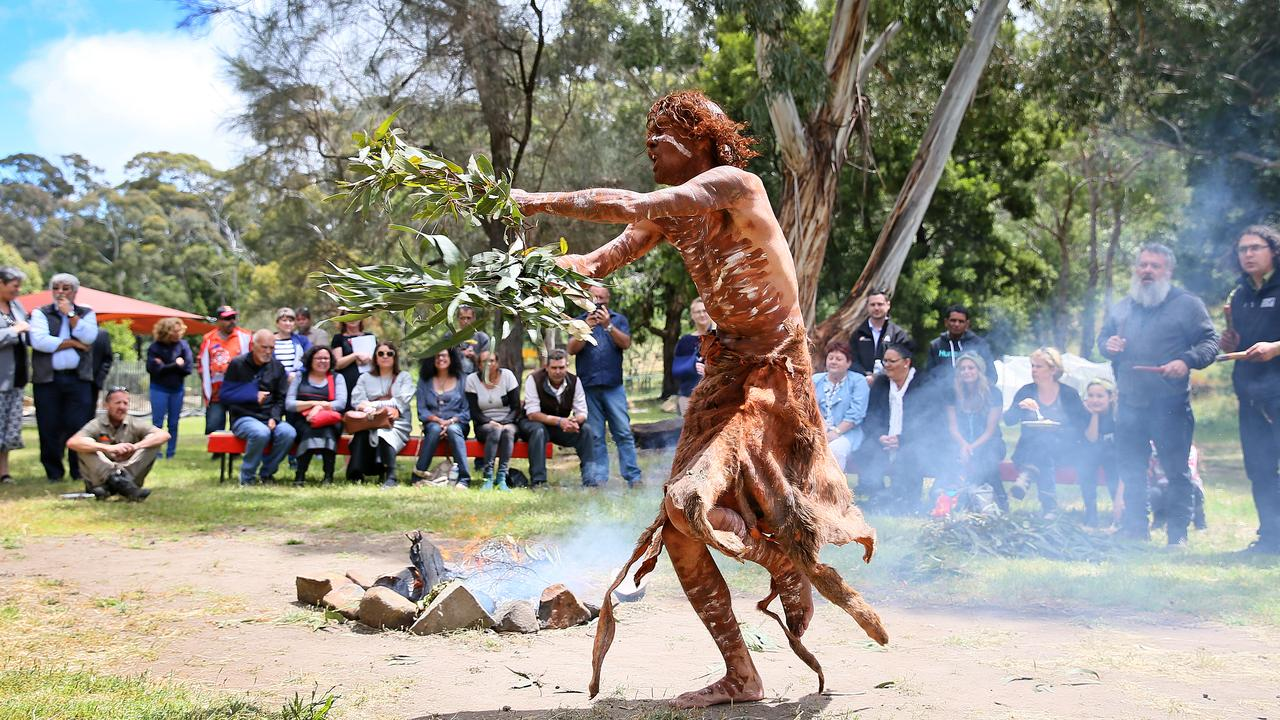 Craig Everett of Musselroe Bay, Tasmania, performs a smoking ceremony, cleansing and welcome dance near Hobart. Picture: Sam Rosewarne