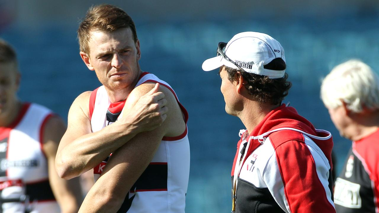 Brendon Goddard with Scott Watters during St Kilda training at AAMI Stadium.