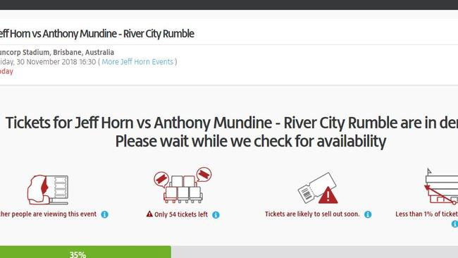 A screenshot from Viagogo, taken today. Picture: Supplied