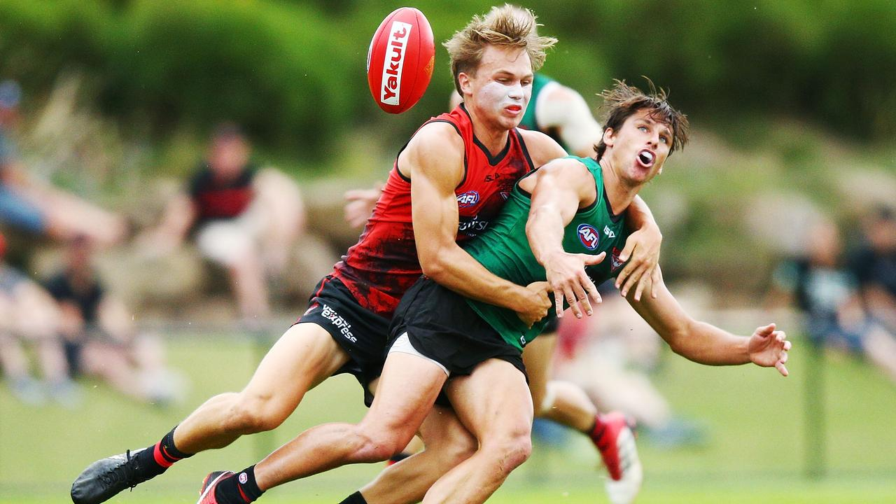 Dylan Clarke (left) is edging closer to an AFL debut. Photo: Michael Dodge/Getty Images