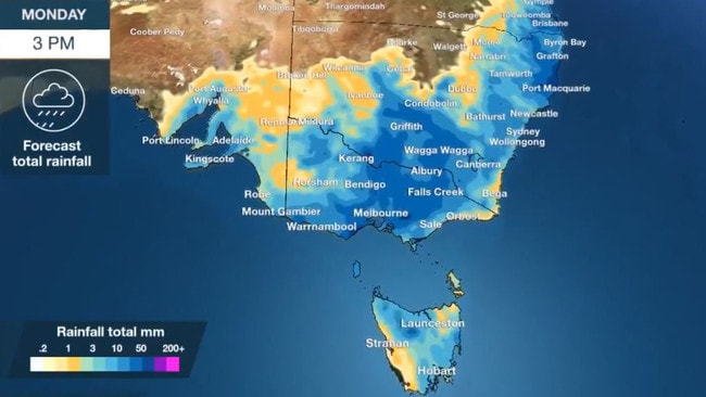 Rain is forecast for every capital city in Australia's east. Picture: BOM