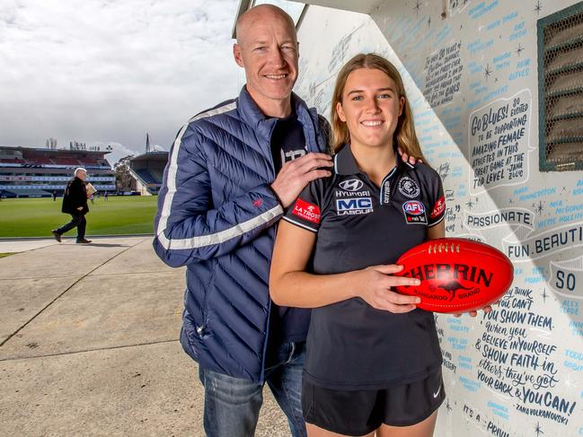 History will be made on Tuesday with football's first father-daughter recruit Abbie McKay, pictured with dad, Carlton premiership player Andrew McKay. Picture: Tim Carrafa