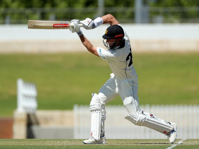 Shaun Marsh finished the day unbeaten on 101. Picture: AAP Image/Richard Wainwright