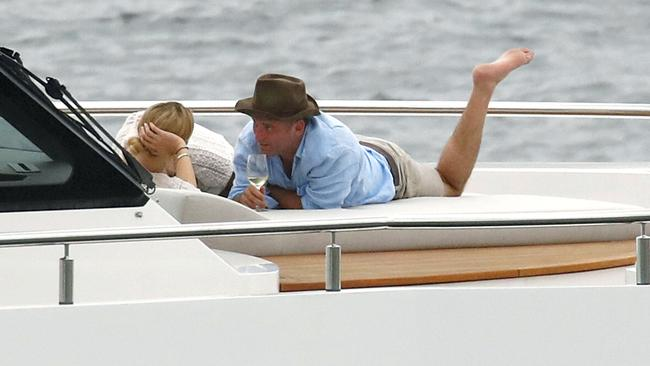 Karl Stefanovic and new girlfriend Jasmine Yarbrough on a boat enjoying the Sydney Harbour.