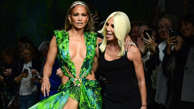 JLo with fashion designer Donatella Versace following the presentation of Versace's Women's Spring Summer 2020 collection in Milan. Picture: Miguel MEDINA / AFP