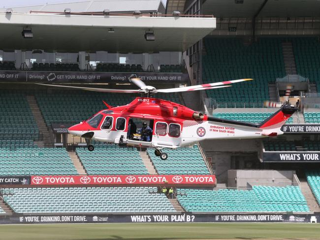 A helicopter landed on the SCG but ultimately wasn't used.