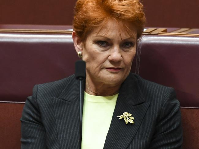 Pauline Hanson said Mr Dutton could accepting a 'poison chalice'. Picture: AAP Image/Lukas Coch