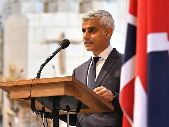 Mayor of London Sadiq Khan addresses a Service of Commemoration. Picture: AFP