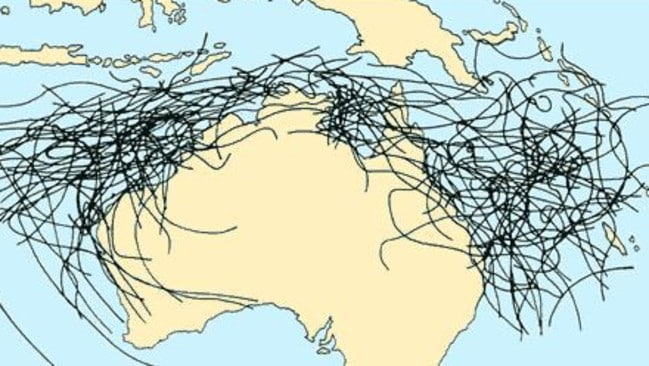 This is a map of where previous Australian cyclones have travelled. Source: bom.gov.au.