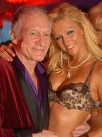 08/04/2006. In this photo released by Playboy, Playboy founder Hugh Hefner, poses with Paris Hilton as he celebrates his 80th birthday at the Playboy Mansion in the Holmby Hills area of Los Angeles. (AP Photo/Playboy, James Trevenen)