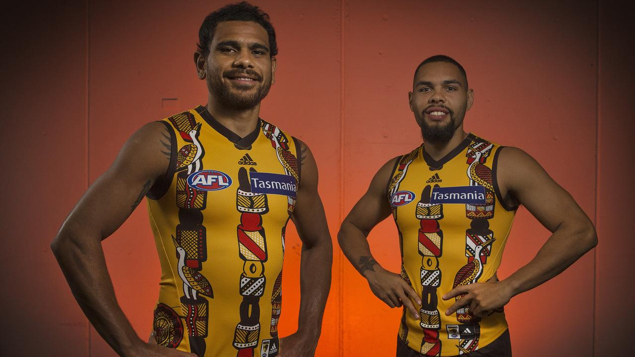 Hawthorn's Cyril Rioli and Jarman Impey in this year's Indigenous round jumper. Photo: Michael Klein